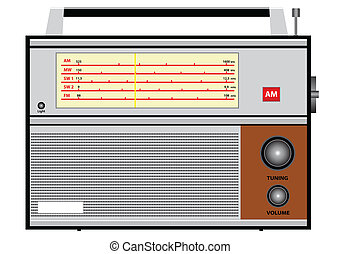 Old radio - Illustration of an old radio on a white...