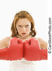 Bride with boxing gloves.
