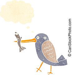 retro cartoon kingfisher