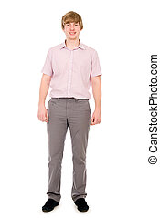 Happy young man standing full length isolated on white...