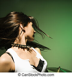 Female swinging hair - Cuacasian female swinging her hair