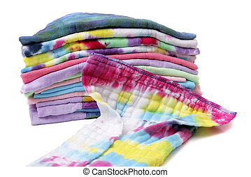 cloth diapers stacked - one stack of colorful cloth natural...
