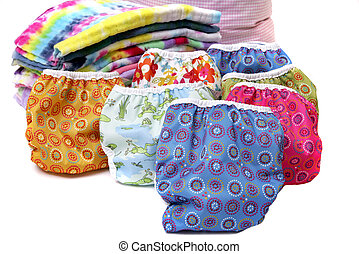 cloth diaper stack - one stack of colorful cloth natural...