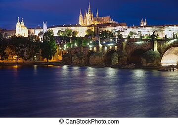 Beautiful Prague at night - The Charles Bridge and the...