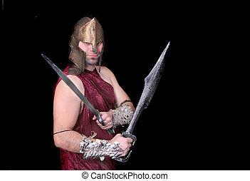 Grego, guerreira, homem