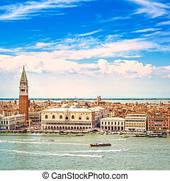 Venice aerial view, Piazza San Marco with Campanile and Doge...