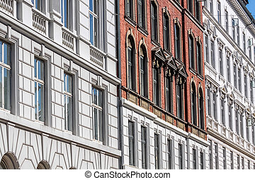 Historic facades in Nyhavn in Copenhagen, Denmark