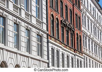 Historic facades in Nyhavn in Copenhagen, Denmark