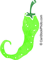 retro cartoon glowing green chili
