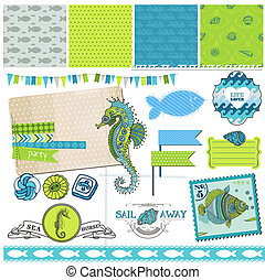 Scrapbook Design Element - Tropical Fish and Sea Horse Theme...