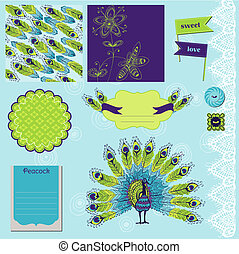 Scrapbook Design Element - Peacock Theme - in vector