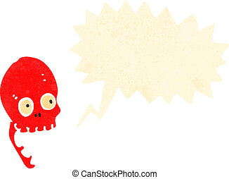 retro cartoon laughing red skull