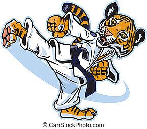 Um, Tiger, filhote, marcial, artista, chutando