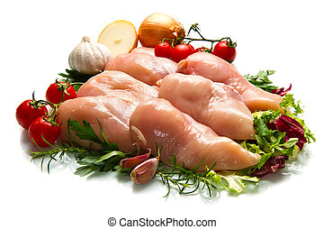 raw chicken fillets close up on white - Dietetic chicken...