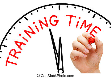 Training Time - Hand writing Training Time concept with red...