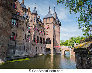 Castle De Haar, The Netherlands - View on part of monumental...