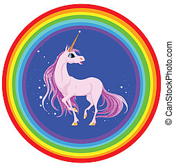 pink unicorn in a rainbow with stars