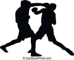 Men Boxing Silhouette - A silhouette of two men boxing