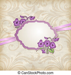 Label and violets - Vintage vector background with label and...