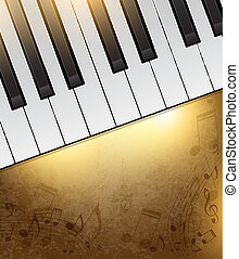 Piano background - Vintage background with piano keys and...