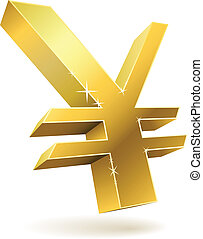 3D golden Japanese yen sign isolated on white vector...