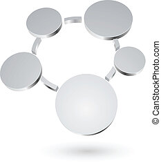 Abstract 3D metallic circles blank diagram