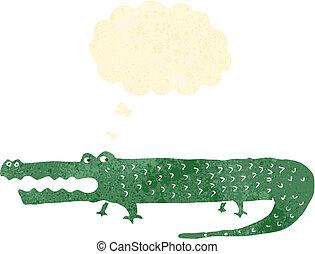 retro cartoon alligator