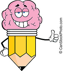 Clever Pencil With Big Brain - Clever Pencil Cartoon...
