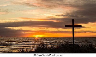 Sundown Cross - Cross on a sand dune with a wonderful...