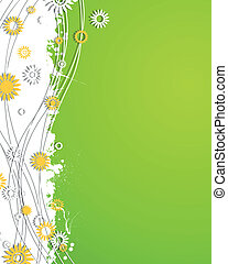 Vector Abstract Background with Flowers - Vector...