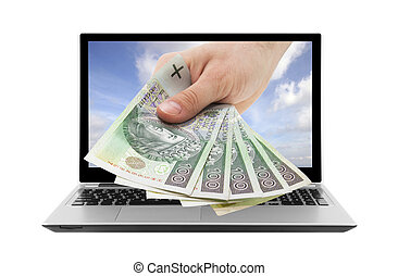 Laptop and hand with polish money.