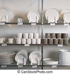 Store display of dishes. - Retail display of porcelain...