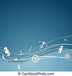 Vector Background with Nautical Elements - Vector...