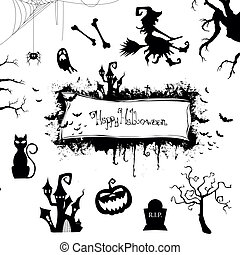 Vector Halloween Design Elements - Vector Illustration of...