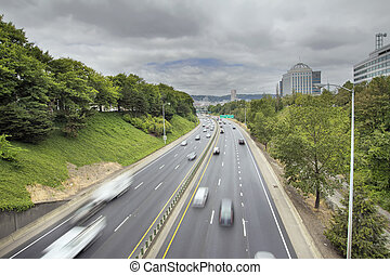 I-84 Interstate Freeway in Portland Oregon with Long...