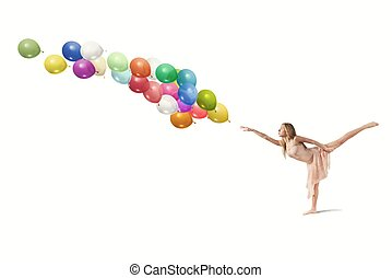 Dancer with balloons - Young girl dance with colorful...