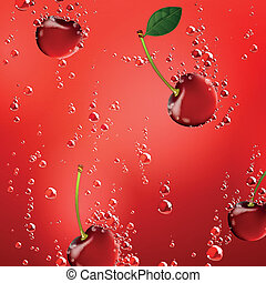 Vector Cherries Falling in Liquid - Vector Illustration of a...