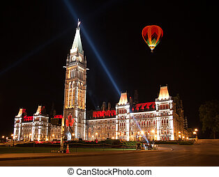 light show on the Canadian House of Parliament - OTTAWA,...