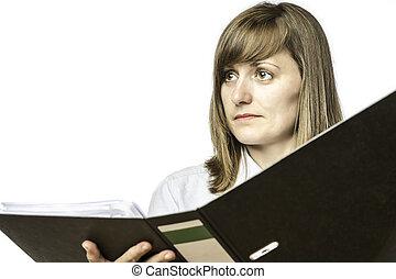 Woman holding open file folder