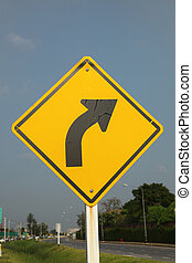 Right curve traffic sign
