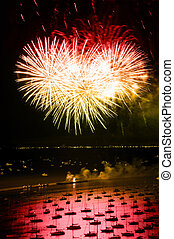 Chicago Independence Day Fireworks - Night time aerial view...