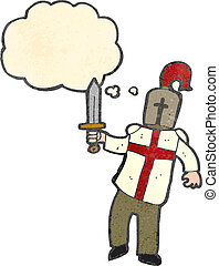 retro cartoon arthurian knight