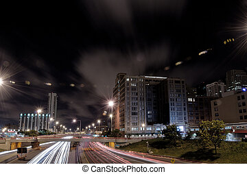 Night Traffic - Nighttime highway traffic in downtown...