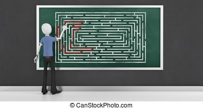 3d man finding the solution of maze