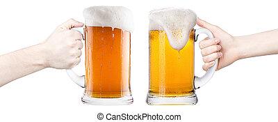 brinde, mulher, mão, Cerveja, fazer, homem