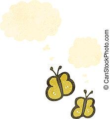 retro cartoon butterflies