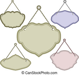 hanging sign - set of isolated hanging signs
