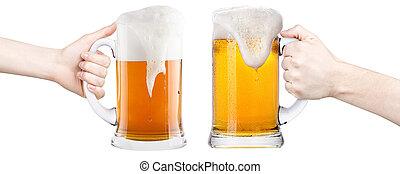 Cerveja, homem, mulher, mão, fazer, brinde