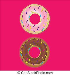 donuts - different donuts on white background
