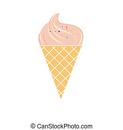 strawberry ice-cream on white background
